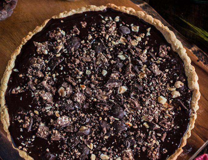 Baci Chocolate Tart with Hazelnut Crust