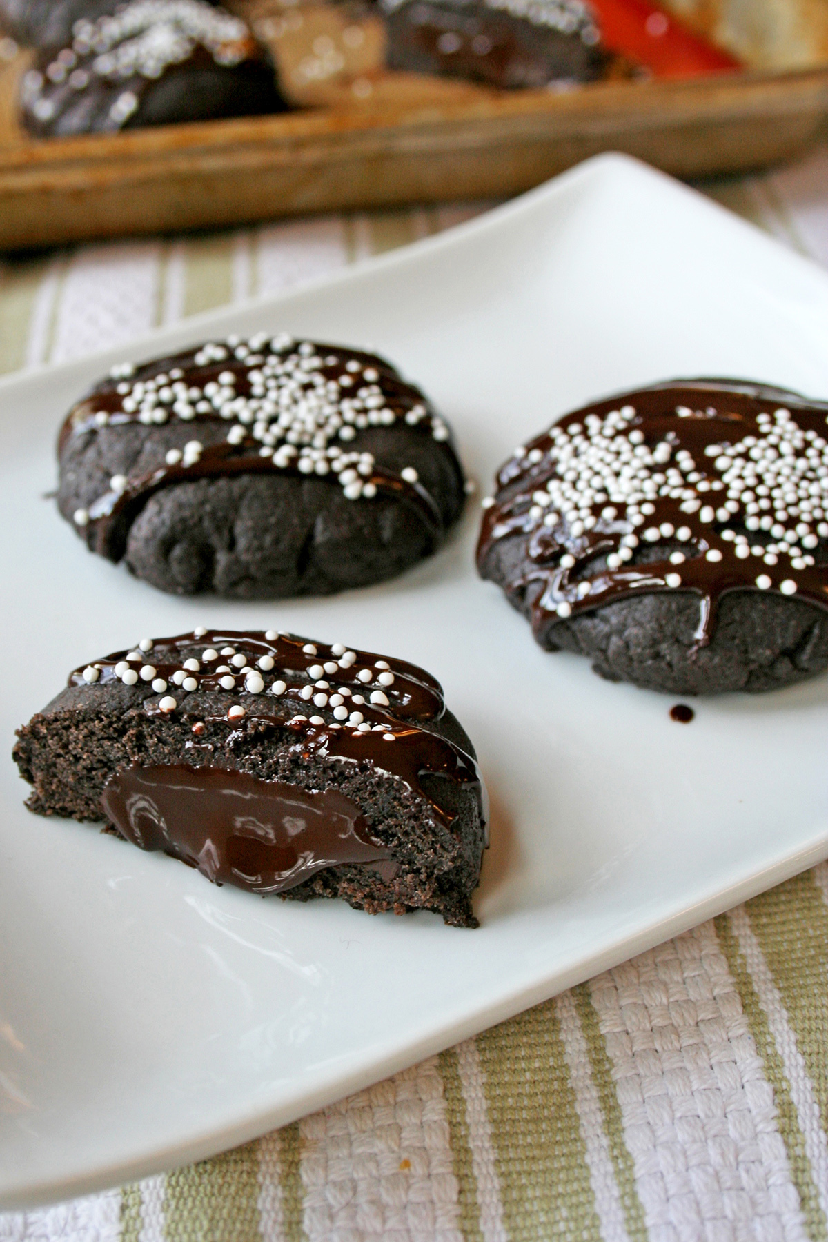Chocolate Filled Chocolate Olive Oil Cookies