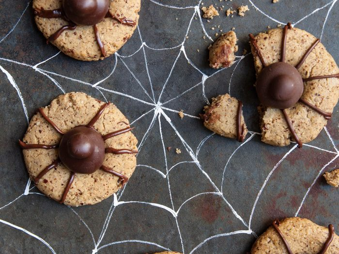 Spooky Spider Hazelnut Olive Oil Thumbprint Cookies