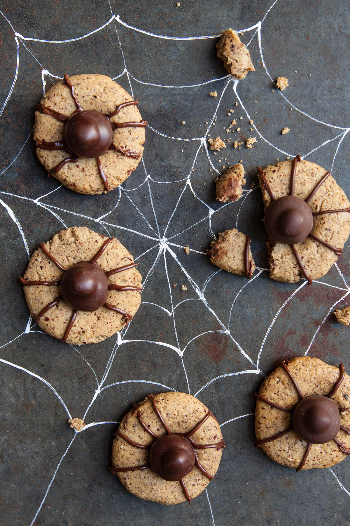 Spooky Spider Hazelnut Olive Oil Thumbprint Cookies