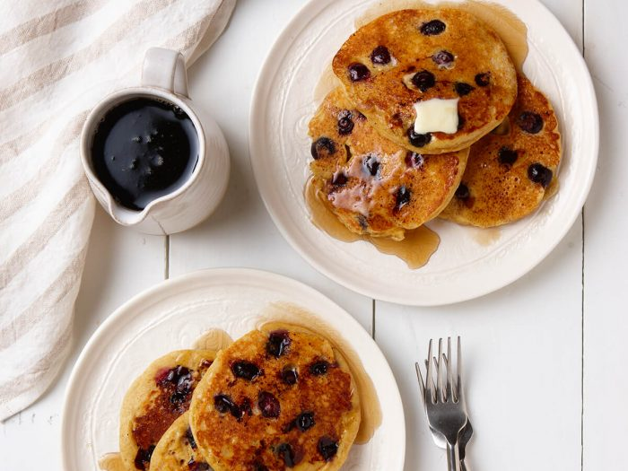 Light and Hearty Lemon Buttermilk Pancakes with Blueberries