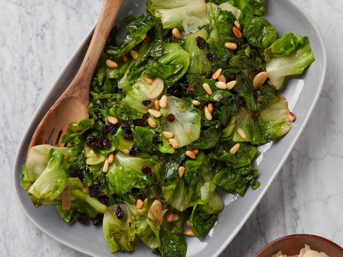 Braised Escarole with Pine Nuts and Currants