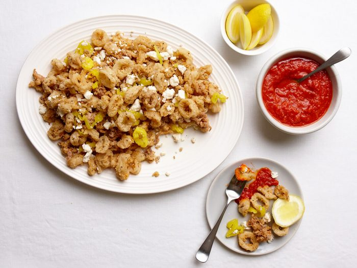 Fried Calamari with Ricotta Salata and Sweet Hot Peppers