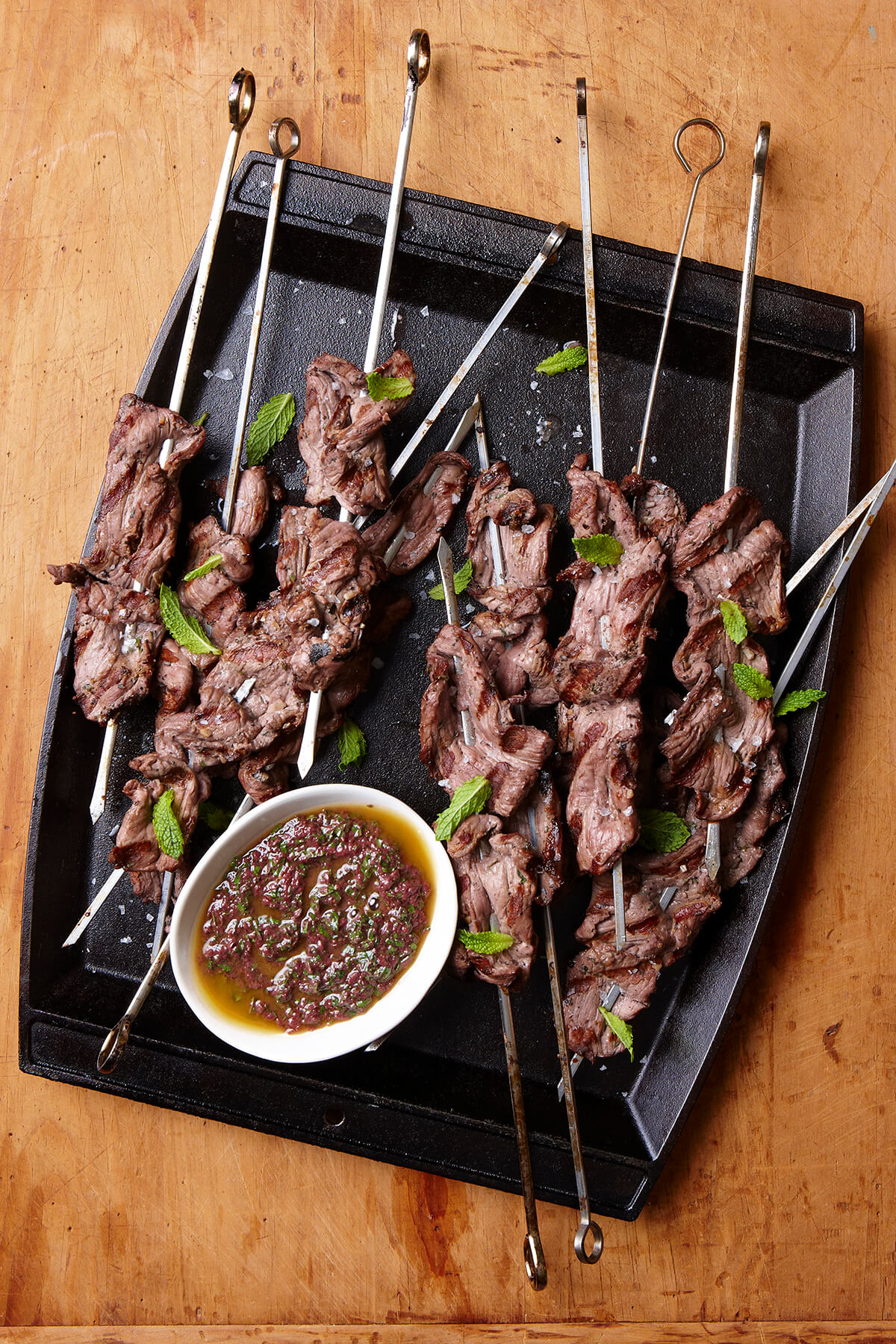 Grilled Lamb Skewers with Mint and Olive Vinaigrette