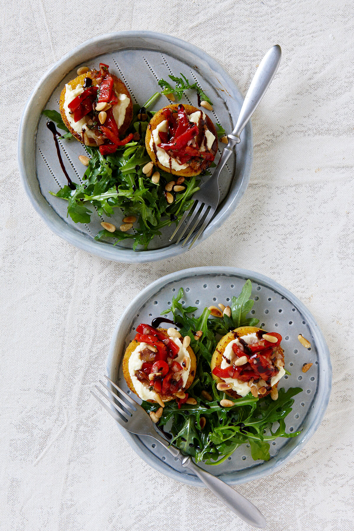 Griddled Polenta Cakes with Ricotta and Roast Peppers