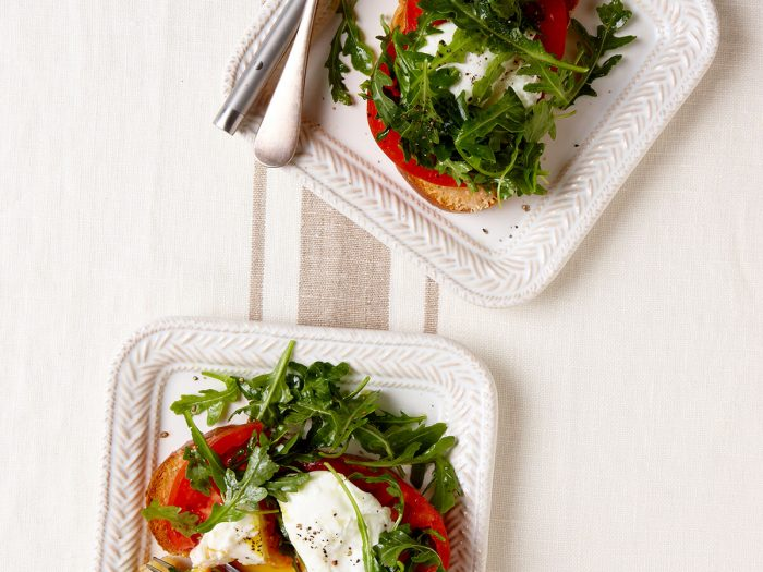 Parmesan Toast with a Poached Egg and Arugula