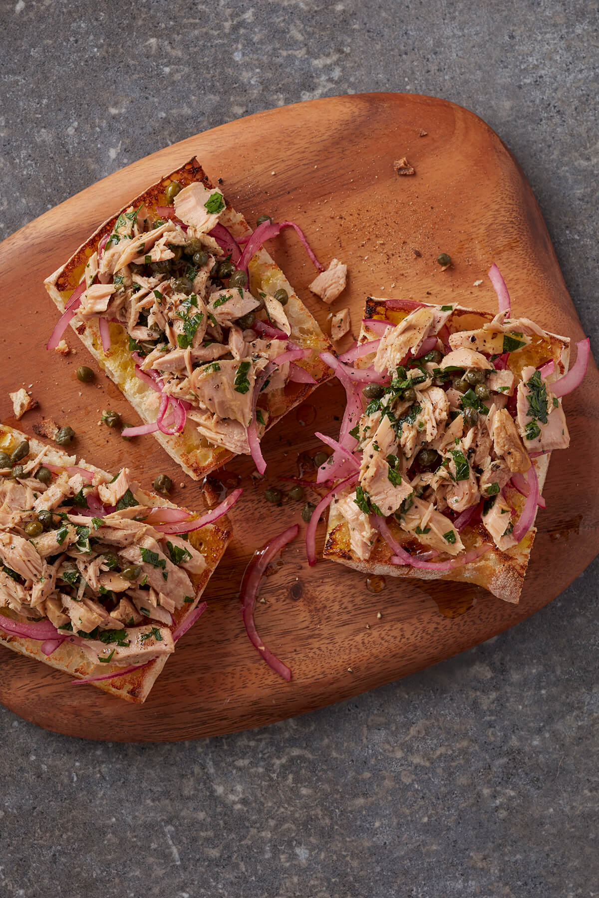 Tuna and Red Onion Open-Face Rustic Sandwich