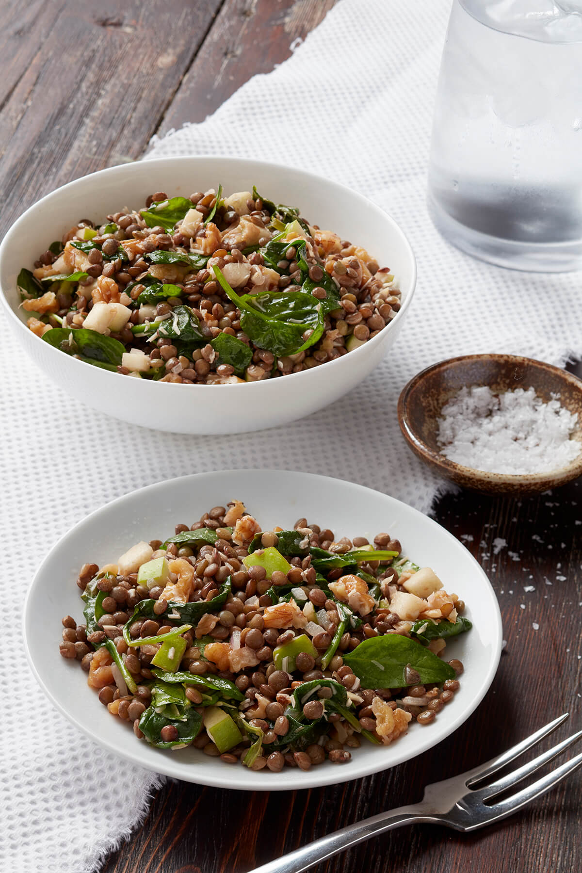 Warm Lentil Salad with Spinach, Walnuts, and Apple