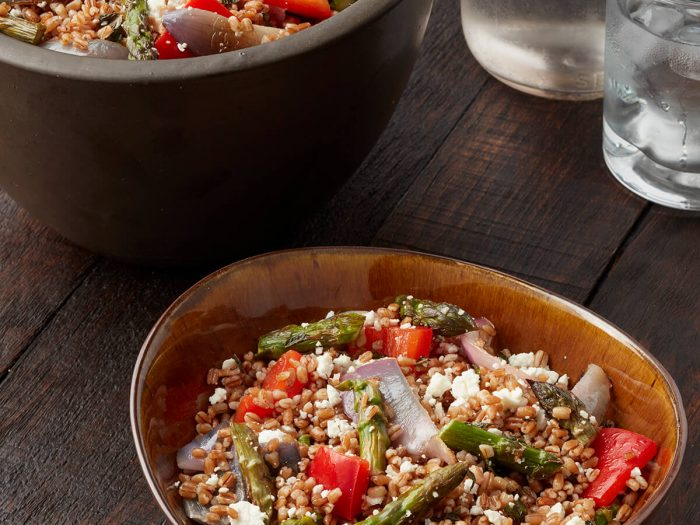Spring Wheatberry Salad with Roasted Asparagus