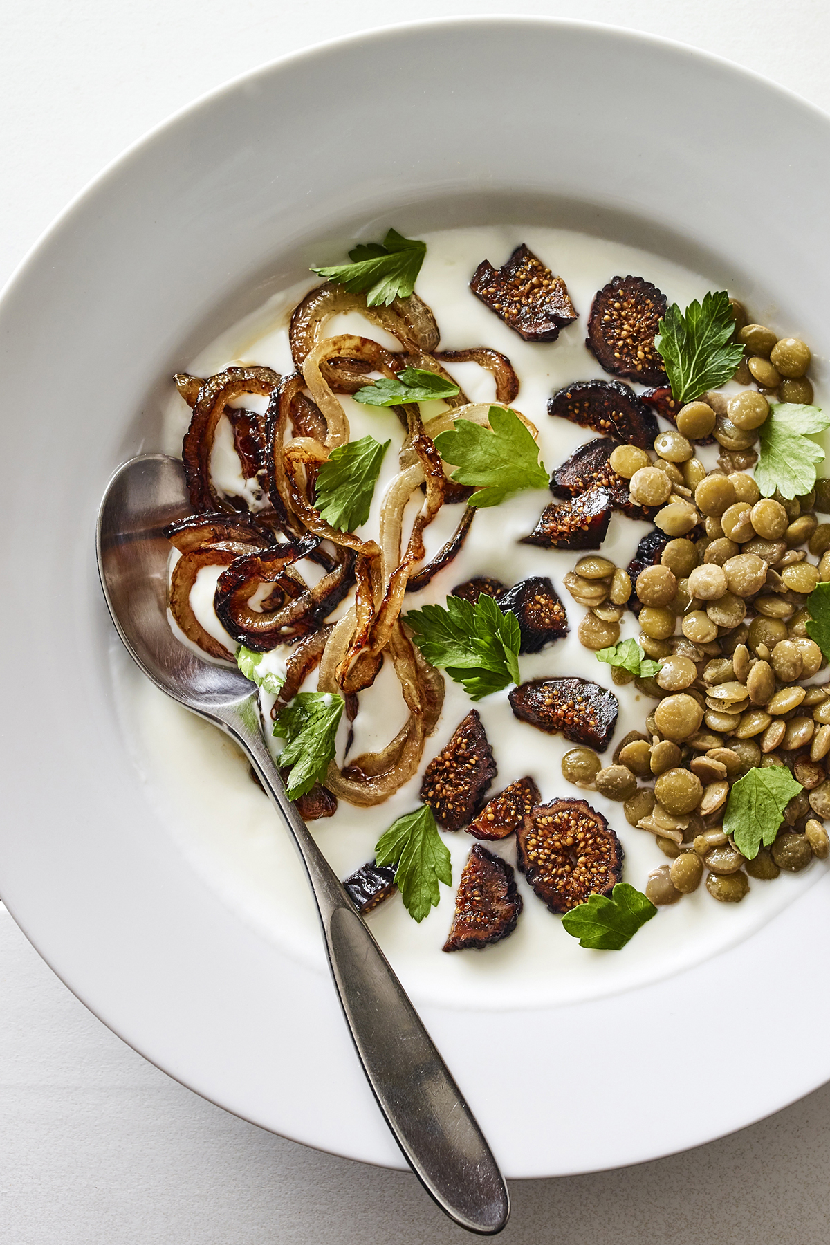 Lentils, Caramelized Onions, and Dried Figs Yogurt Bowl