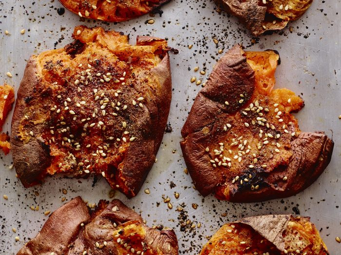 Za'atar Smashed Sweet Potatoes