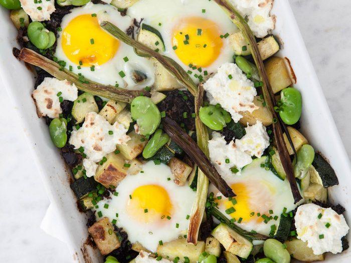 Baked Eggs with Seasonal Veggies