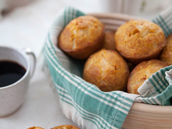 Fontina Polenta Muffins with Sun-dried Tomatoes