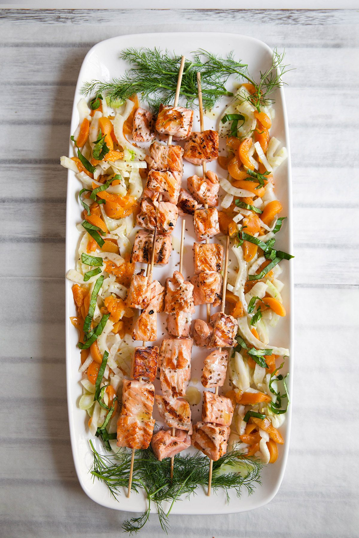 Grilled Salmon Skewers with Apricot and Fennel Salad