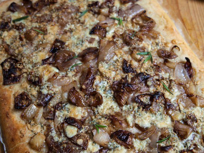 Caramelized Shallot and Gorgonzola Pizza