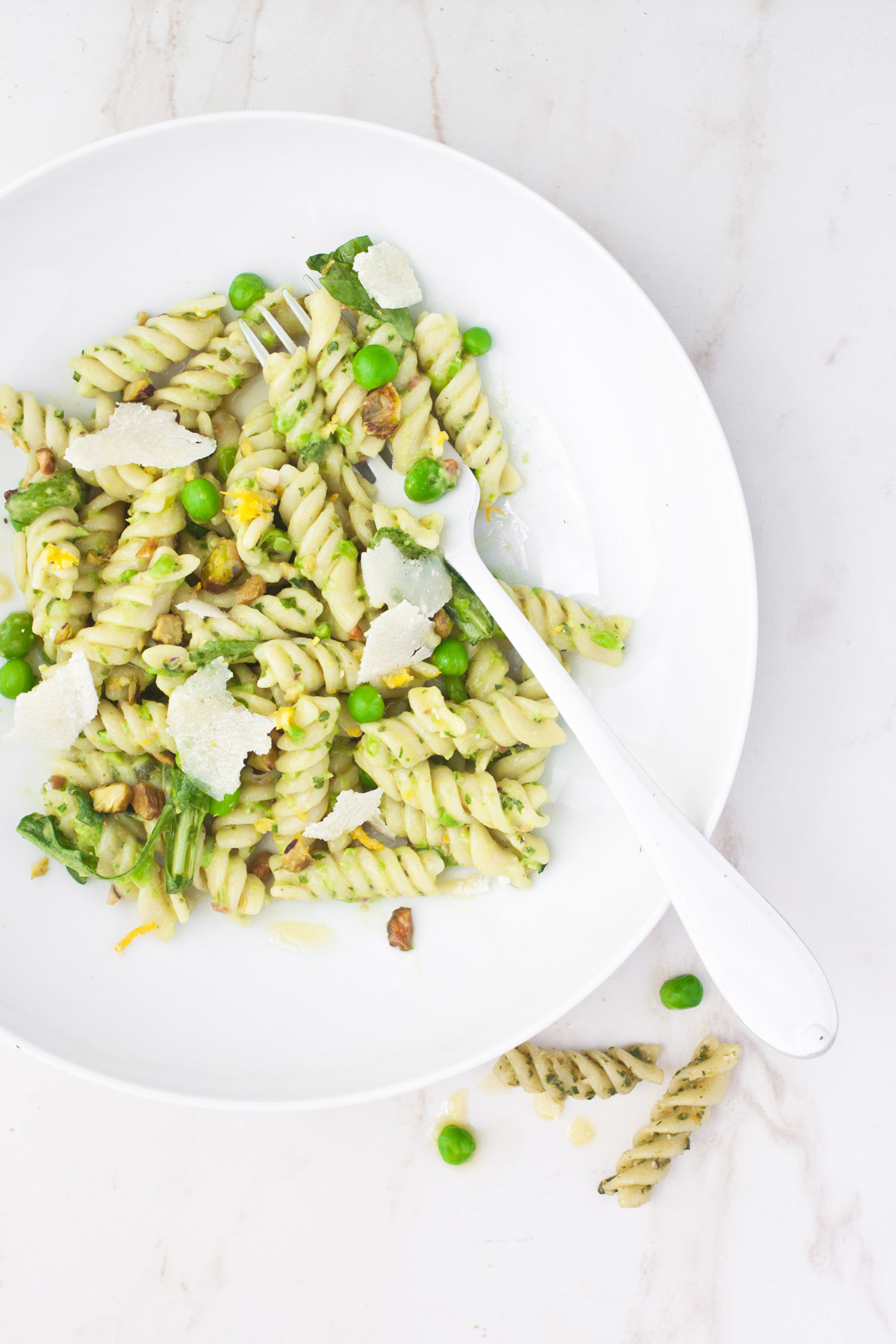 Spring Pea Fusilli with Arugula and Avocado