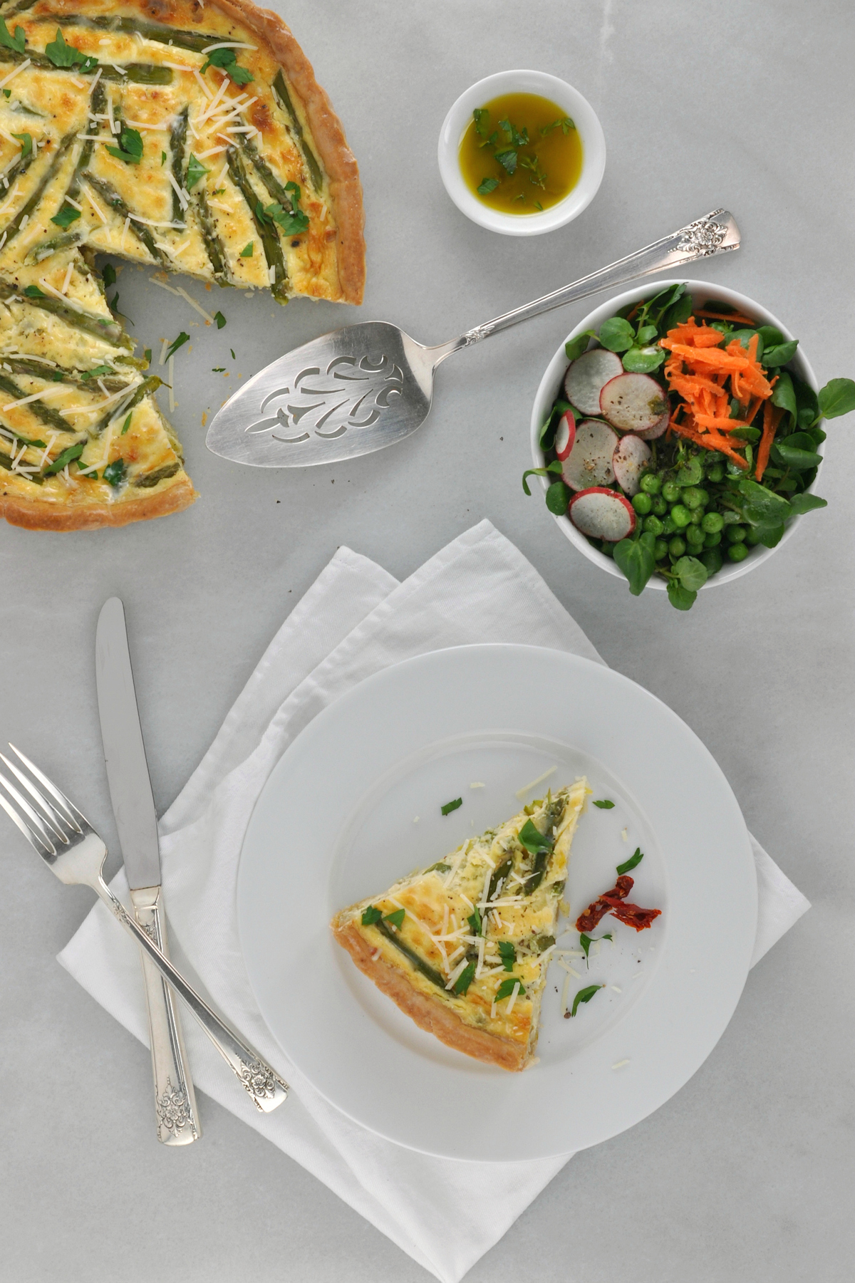 Asparagus, Leek, and Sun-Dried Tomato Quiche