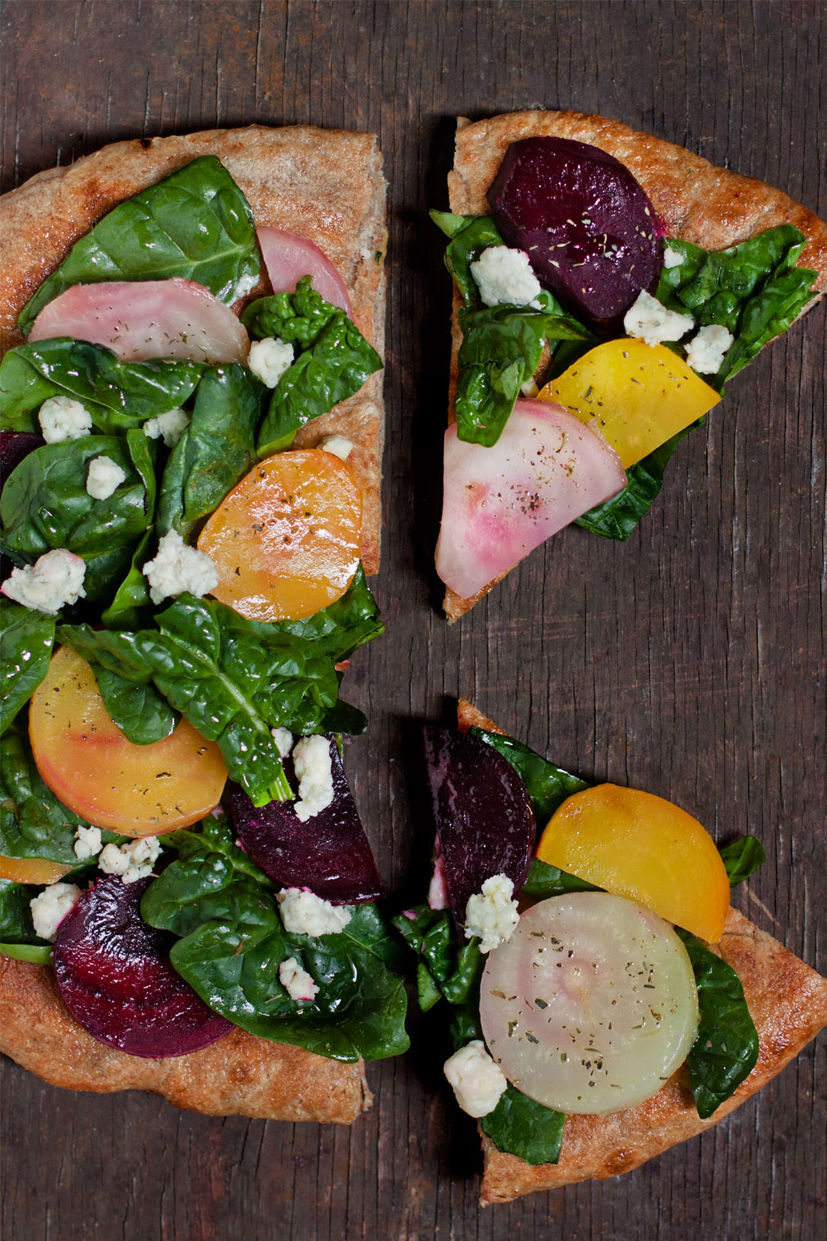 Beet and Spinach Pizza with Gorgonzola Cheese