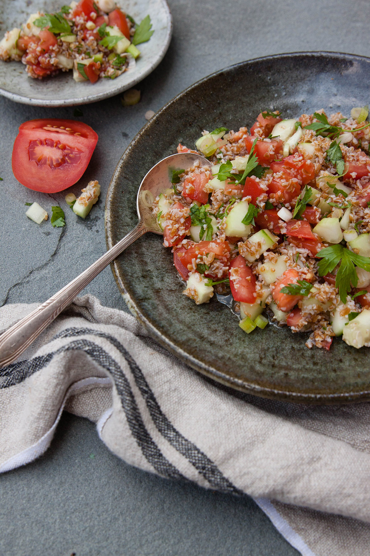 Chilled Tomato Bulgur and Cucumber Tabbouleh Salad