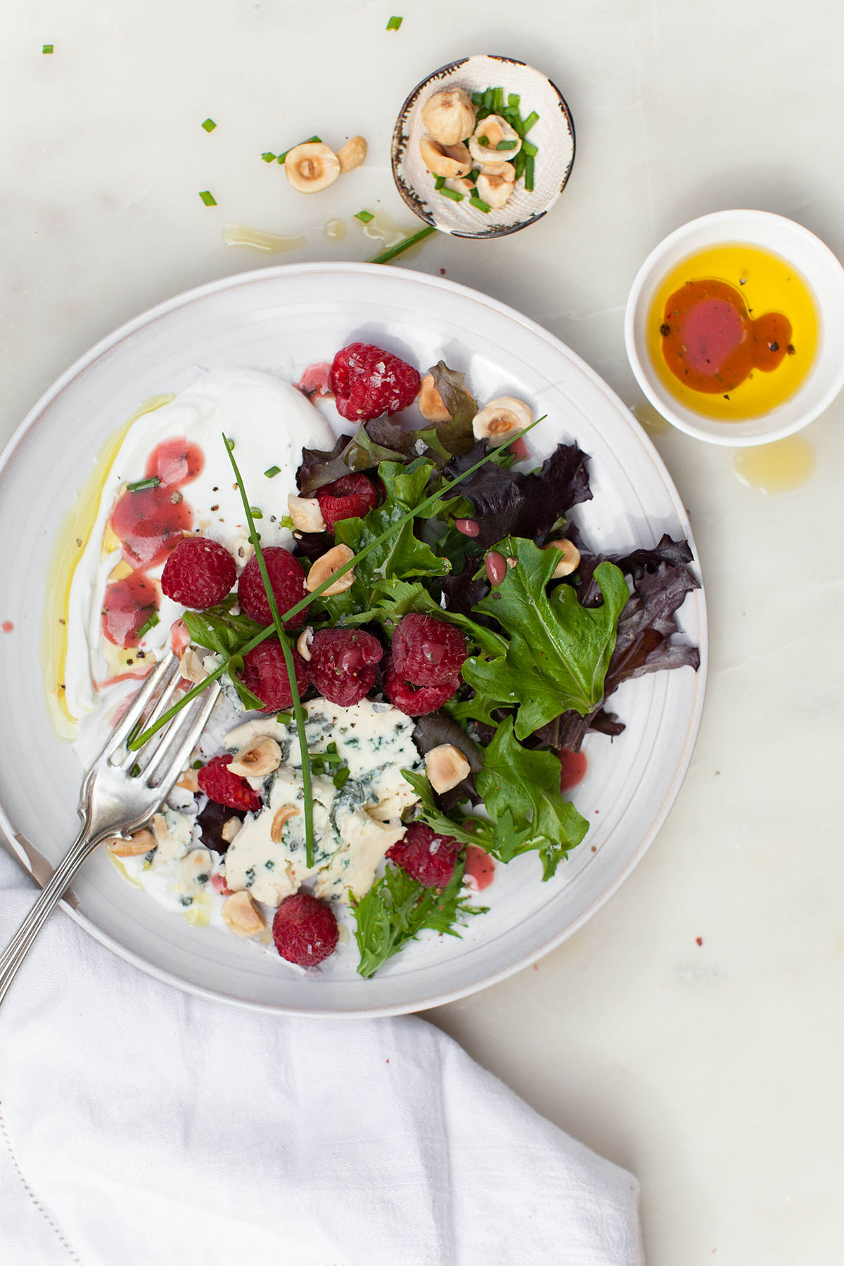 Yogurt Salad with Raspberry Vinaigrette