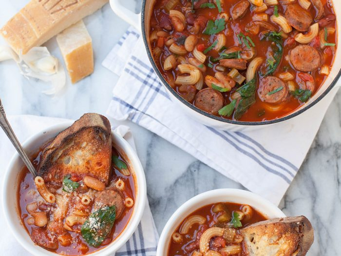 Pasta e Fagioli Soup with Chicken Sausage