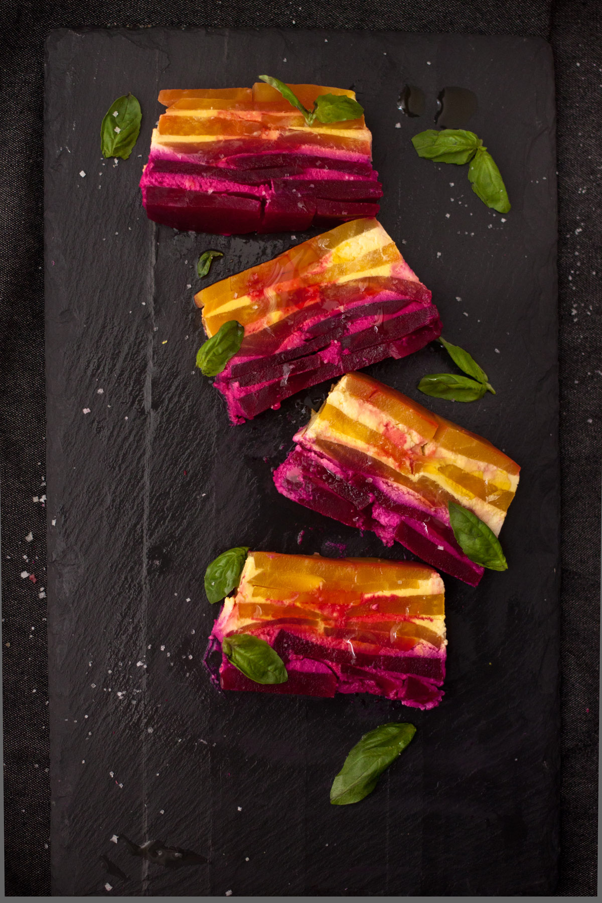 Red and Golden Beet Stacks with Goat Cheese