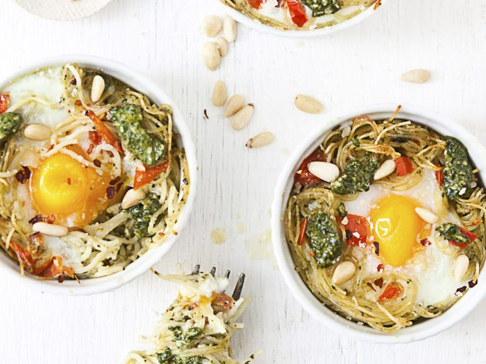 Egg, Tomato and Pesto Pasta Nests