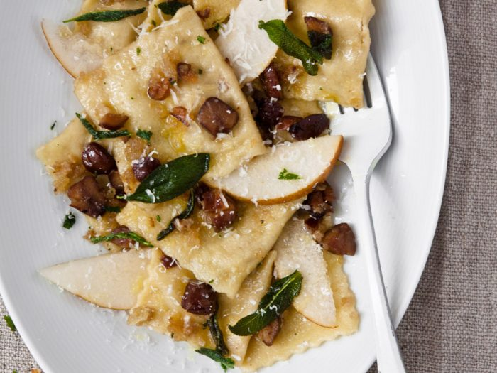 Pear and Chestnut Ravioli with Fried Sage