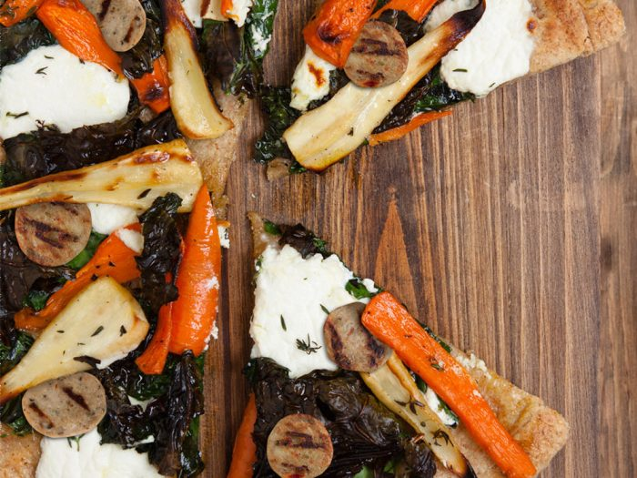 Roasted Kale, Carrot, and Parsnip Pizza