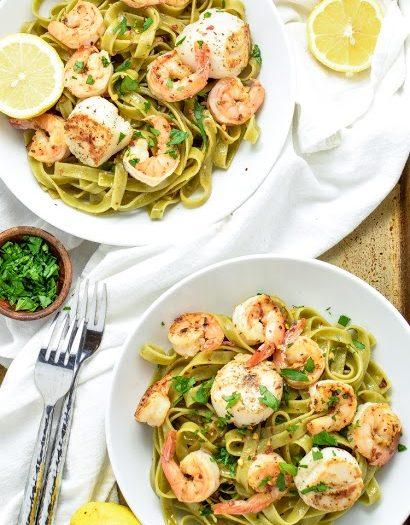 Scallop and Shrimp Scampi with Spinach Tagliatelle