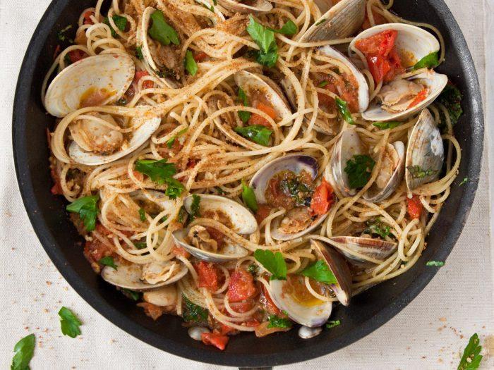 Spaghetti with Clams, Bottarga and Breadcrumbs