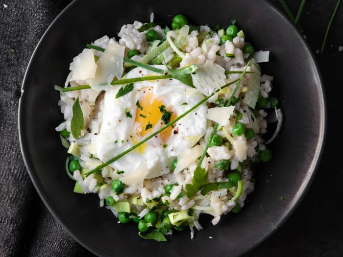 Risotto with Spring Peas, Parsley, and Poached Egg