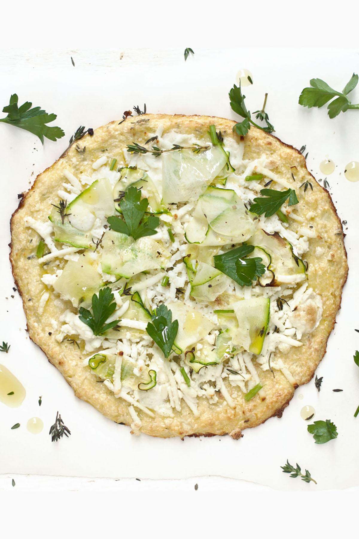 Cauliflower Pizza Crust with Zucchini and Fresh Herbs