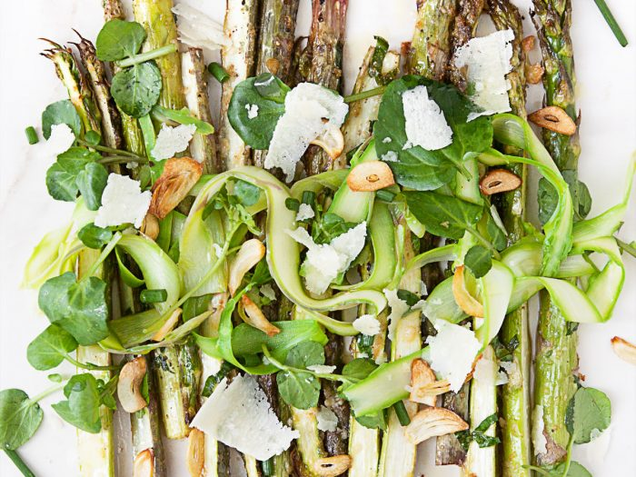 Roasted Asparagus Salad with Garlic Chips