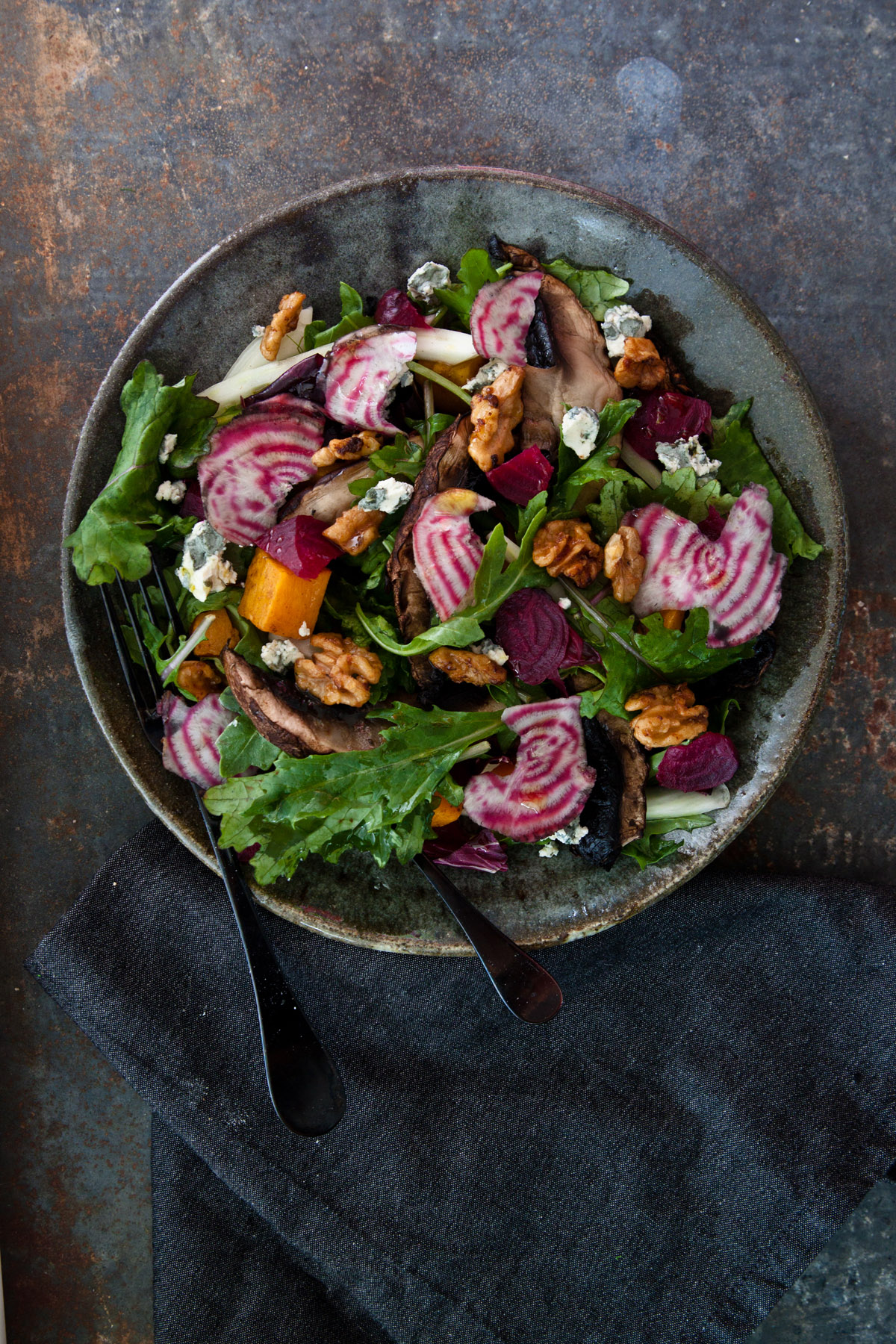 Autumn Salad with Shiitake Mushroom Dressing