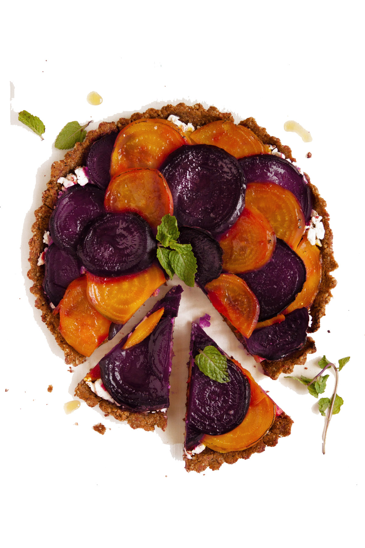 Roasted Beet Tart with Walnut Crust