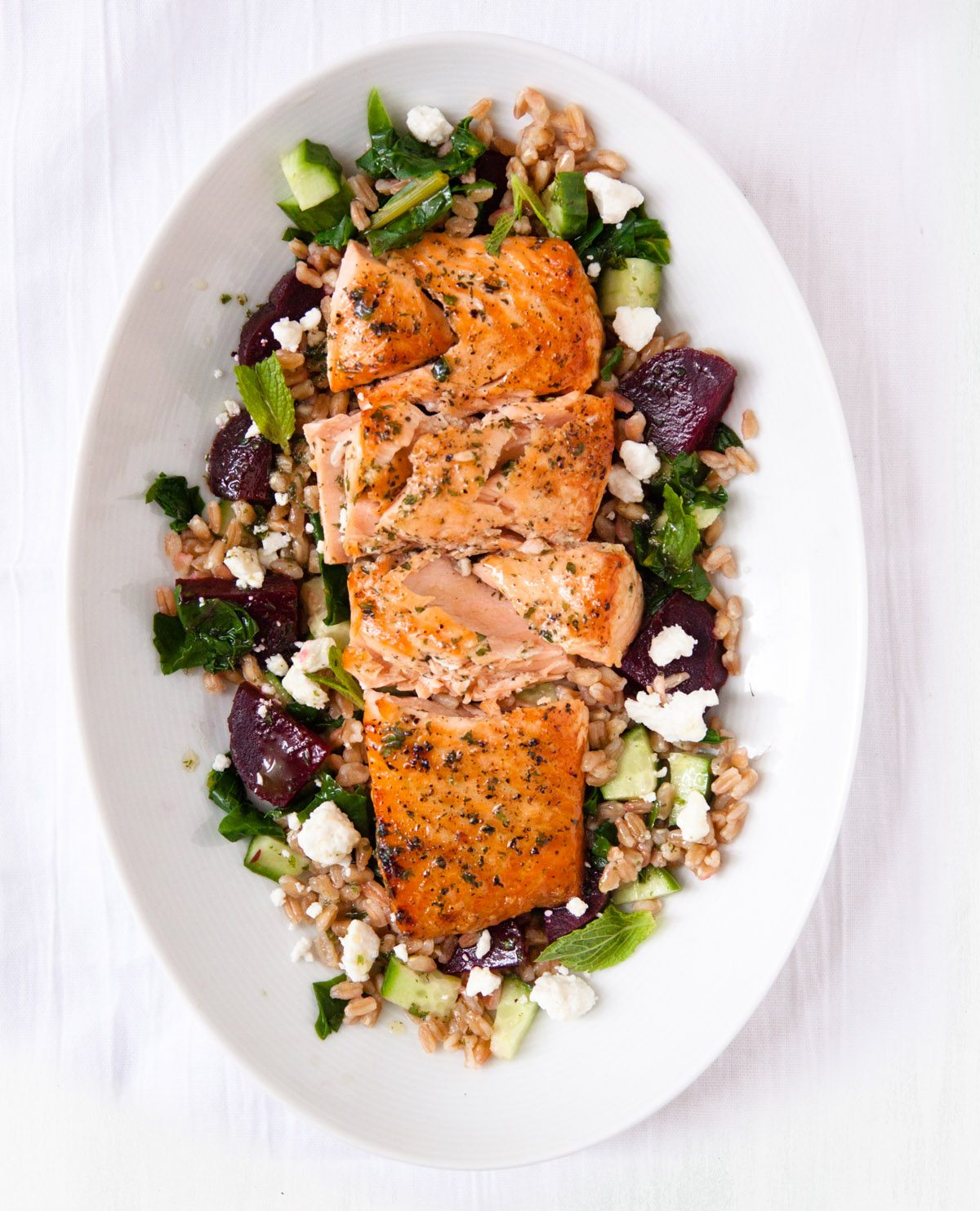 Farro and Salmon Salad with Beets and Greens