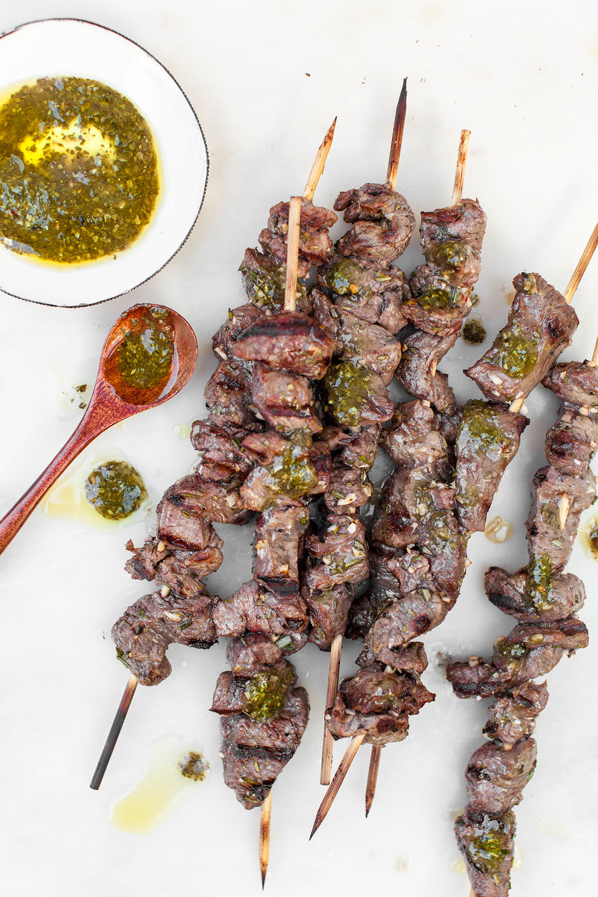 Grilled Lamb Skewers with Chimichurri