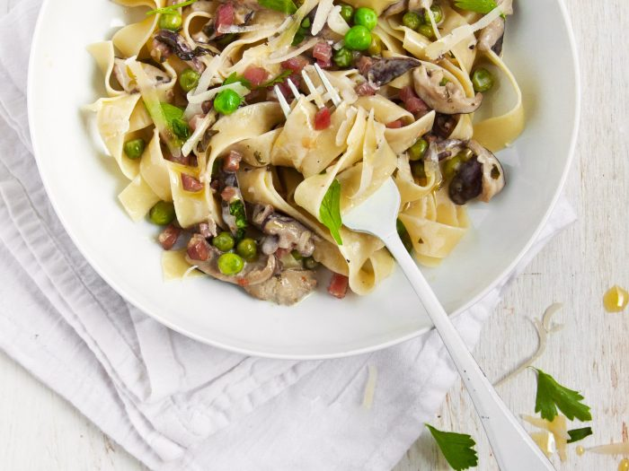 Shiitake Pappardelle with Pancetta and Peas