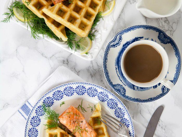 Salmon with Dill Waffles and Horseradish Cream