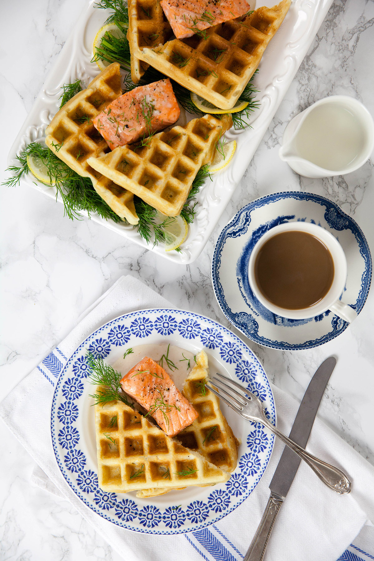 Salmon with Dill Waffles and Horseradish Cream