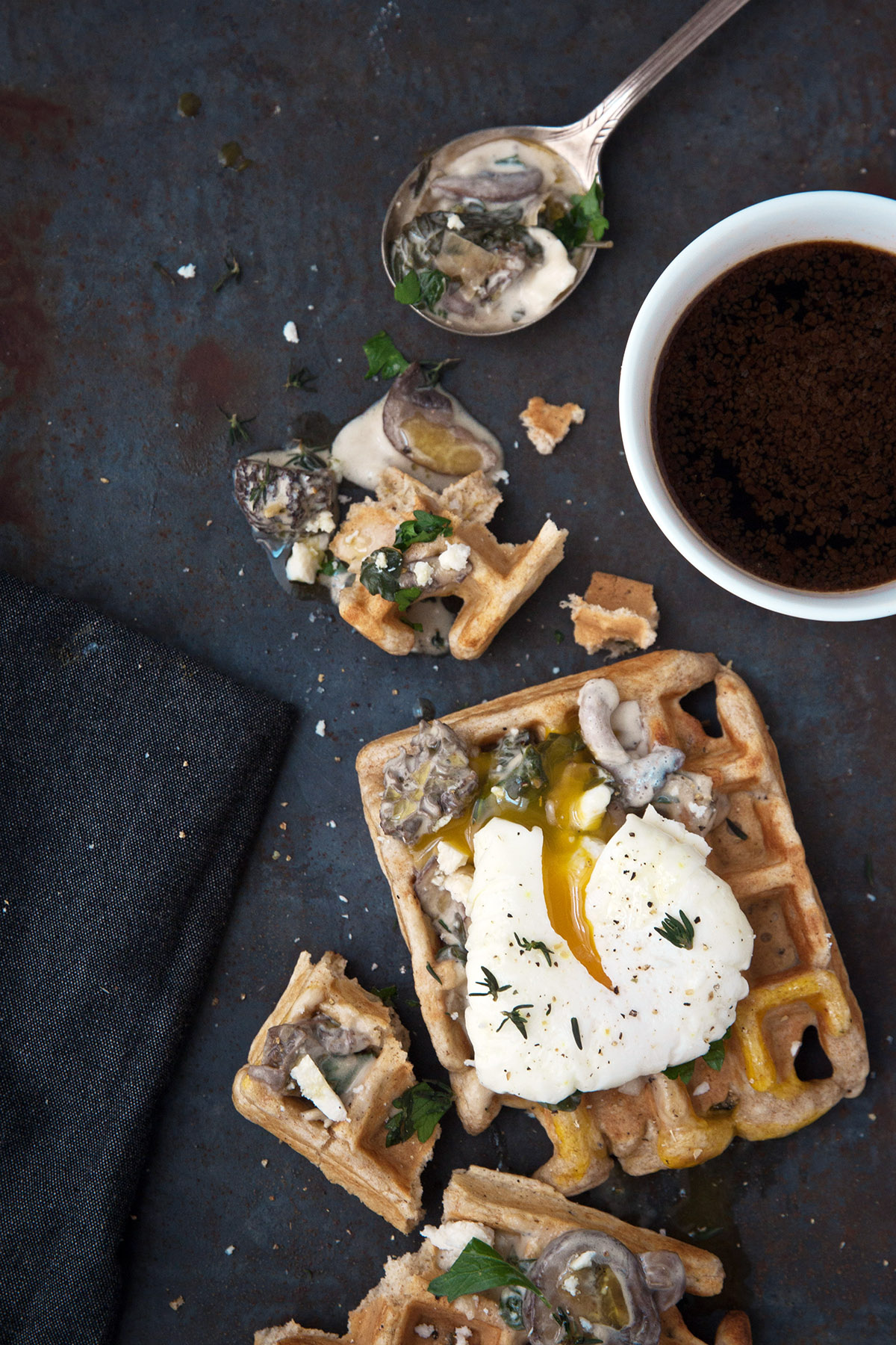 Waffles with Mushroom Sauce and Poached Eggs