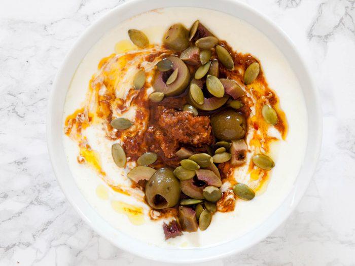 Savory Yogurt with Olives and Sun-dried Tomato Pesto