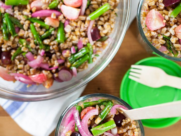 Roasted Radish with Farro and Pickled Grapes