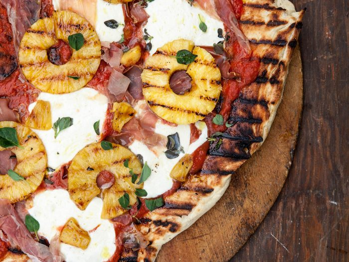 Italian Hawaiian Grilled Pineapple and Prosciutto Pizza