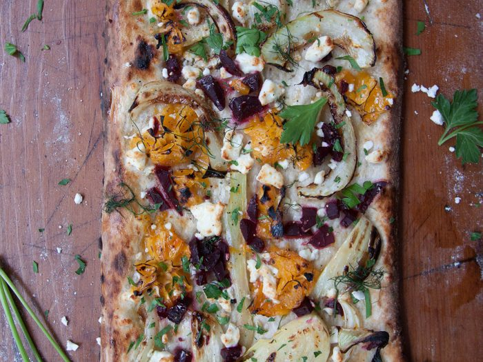 Beet and Citrus Pizza with Feta Cheese