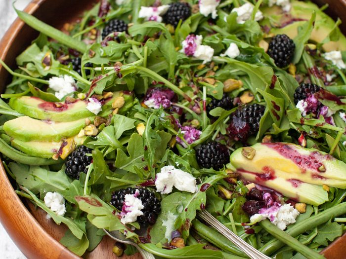 Avocado and Blackberry Salad with Grilled Blackberry Dressing