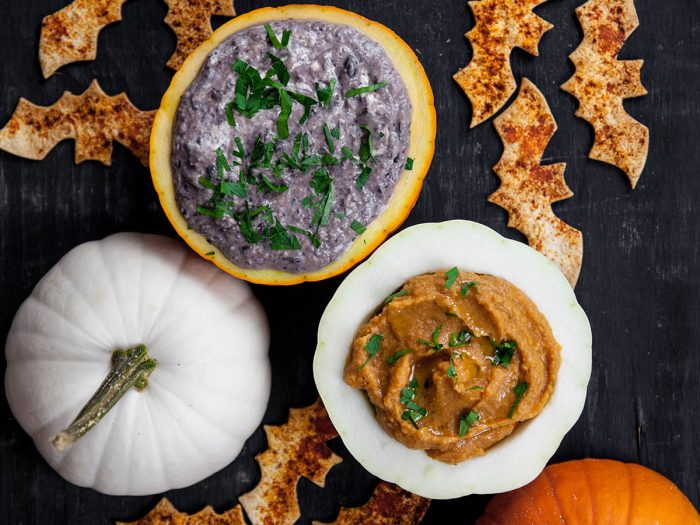 Caramelized Onion Black Bean Dip with Bat Chips