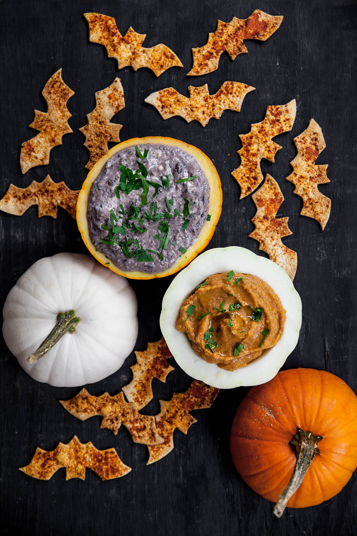 Caramelized Onion Black Bean Dip with Bat Dip, Savory Pumpkin Dip
