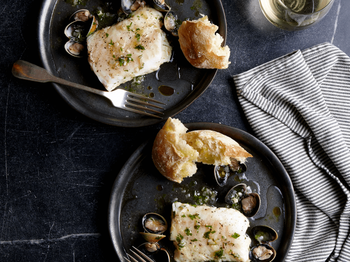 Cod Braised in Olive Oil and White Wine